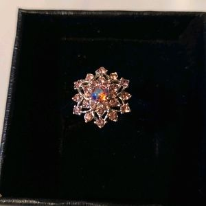 Silver pink snowflake crystal ring